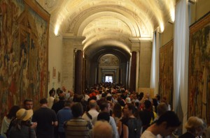 my own photo of crowds making their way towards the Sistine Chapel